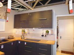 Ikea - hi gloss grey kitchen - Metod / Ringhult range; combine with stainless steel or off white units