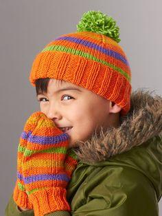 Yarnspirations.com - Patons Striped Basic Hat and Mittens 4 Needles - Patterns  | Yarnspirations