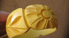 Wide Yellow Carved Bakelite Bangle Bracelet BOOK by AntiguaNM