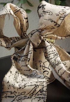 Vintage Script Burlap Ribbon 4in x 10yd