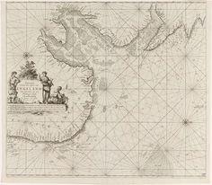 Jan Luyken | Paskaart van de oostkust van Engeland, met de monding van de Humber, Jan Luyken, Johannes van Keulen (I), unknown, 1681 - 1799 | Paskaart van de oostkust van Engeland, met de monding van de Humber, met twee kompasrozen, het Noorden ligt rechts. Links een cartouche met de titel, het adres van de uitgever en de schaalverdeling in Duitse, Spaanse en Engelse of Franse mijlen (schaal: c. 1:400.000). De titel wordt geflankeerd door een herder met een hond, een herderin met een lam en…