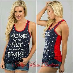 Get ready for Summer BBQ'S with our Home of the Free because of the Brave tank! Ultra soft♡  Rayon and Spandex   Made in the USA | Shop this product here: spreesy.com/saltykissesboutique/27 | Shop all of our products at http://spreesy.com/saltykissesboutique    | Pinterest selling powered by Spreesy.com