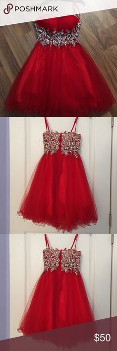 Short red formal dress It is a size xs but fits like a 2 or 4, only worn once Dresses Strapless