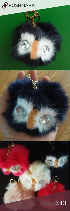 Pom pom owl keyring New. Its a beautiful owl faux rabbit fur pom pom. You can use it as a car decoration, purse/bag, keychain, backpack, etc. No trades or Pp thanks Accessories