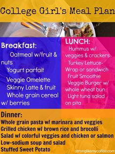 College Girls Meal Plan  - or any girl with a budget and time crunch - healthy, yummy easy options  This will be helpful in a couple years