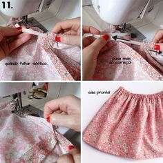 Saia com elástico - costura super fácil Baby Clothes Patterns, Sewing Patterns For Kids, Sewing For Kids, Baby Sewing, Clothing Patterns, Sewing Clothes, Diy Clothes, Crochet Baby Dress Free Pattern, Maternity Sewing