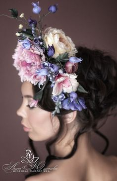 This is absolutely unique, stunning and breath taking Silk Flower Headpiece Garland Wreath from Russian very talented silk flowers designer Anna