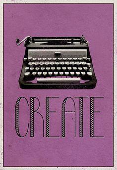 Criar, máquina de datilografia retrô, pôster da impressão artística Posters na AllPosters.com.br