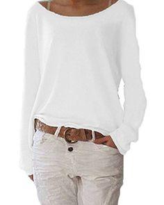 0d7403724c ZIOOER Damen Pulli Langarm T-Shirt Rundhals Ausschnitt Lose Bluse Hemd  Pullover Oversize Sweatshirt Oberteil