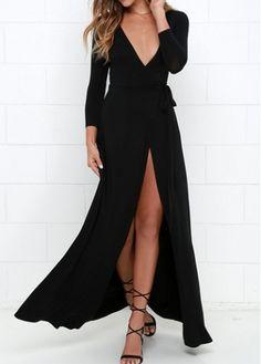 Black Three Quarter Sleeve Wrap Dress - USD $18.94