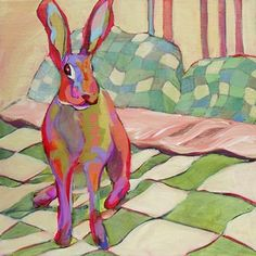 Rabbit painting by artist Carolee Clark.