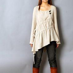Baumwoll-Leinen-Bluse (Y1112) von idea2lifestyle auf DaWanda.com