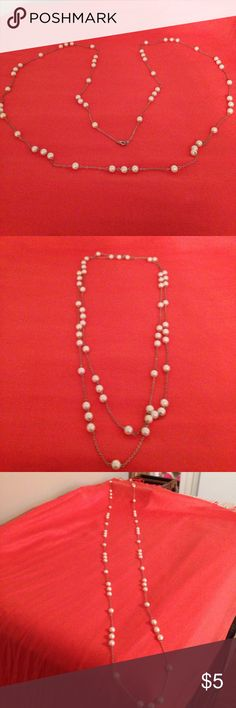 """Long pearl and silver necklace 31"""" long (waist/hip length) pearl necklace in a silver chain. Alternating single and triple groups of pearl beads. Can be doubled or tripled. Premier Designs Jewelry Necklaces"""
