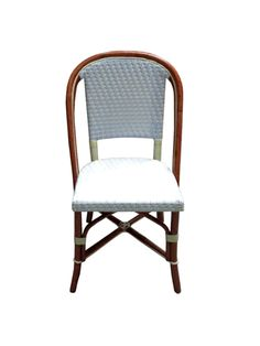 """HK-81 STRAIGHT WEAVE, PRIMARY COLOR WHITE, SECONDARY COLOR IVORY Dimensions : 19 1/4"""" Wide x 19 1/4"""" Deep x 34""""3/4""""High Secondary Color, Primary Colors, French Interior, Interior Design, French Bistro Chairs, Straight Weave, French Cafe, Handmade Furniture, Side Chairs"""