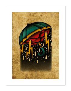 Ombrello tempesta Neo-tradizionale Tattoo Flash di BlackMast
