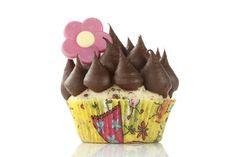Cupcake cu vanilie Burbon si topping cu crema ganache de ciocolata.