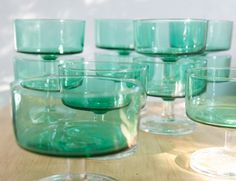 green glass coupes {perfect for little desserts!}