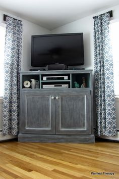 """Build your own """"Get Out of the Way of the TV"""" console. With cabinets for toys and books! Move TV to where leather chair is."""