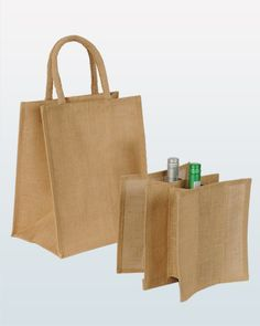 Bottle Bag - A promotional jute bag designed to hold 6 bottles perfectly. Complete with an internal divider, this is great for transporting wine or spirits. With printing available on both sides, it makes this great for branding as well as being a practical everyday product. Available in natural only.