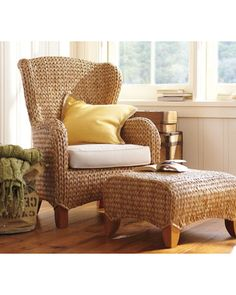 Love this Seagrass Wingback Armchair - Perfect for a reading corner