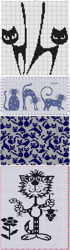 Best Ideas For Crochet Cat Pattern Animals Cross Stitching, Cross Stitch Embroidery, Embroidery Patterns, Machine Embroidery, Knitting Charts, Knitting Stitches, Knitting Patterns, Crochet Patterns, Knitting Ideas