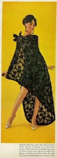From Ebony, October 1966:  Stunning black lace nude effect gown by New York designer Chester Weinberg.