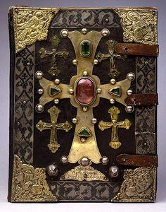 Armenian gospels, 1262, with metal elements over leather http://en.wikipedia.org/wiki/Treasure_binding
