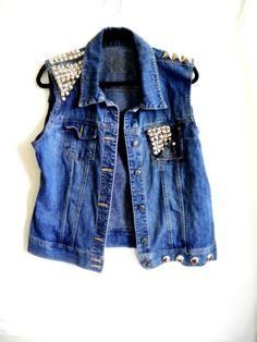 Studded Denim Vest