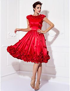 d046008668 A-Line Jewel Neck Knee Length Stretch Satin Cocktail Party Dress with  Appliques by TS Couture®