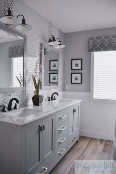 Looking for bathroom renovation ideas? Check out the design of this modern farmhouse main bathroom renovation reveal for some inspiration. Bathroom Vanity Tops, Bathroom Layout, Bathroom Styling, Bathroom Interior Design, Bathroom Ideas, Bathroom Cabinets, Bathroom Inspo, Bath Ideas, Bathroom Organization