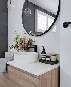 23 Stylish Bathroom Remodeling Ideas Youll Love 2019 Cool 47 Cute But Creative Small Bathroom Décor Ideas. # The post 23 Stylish Bathroom Remodeling Ideas Youll Love 2019 appeared first on Bathroom Diy. Bathroom Inspiration, Stylish Bathroom, Bathroom Furniture, Small Bathroom, Bathroom Decor, Round Mirror Bathroom, Bathroom Design, Minimalist Bathroom, Small Bathroom Decor