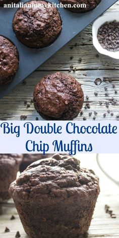 Big Double Chocolate Chip Muffins, moist and easy, a bakery style jumbo muffin recipe, extra chocolatey and so delicious.