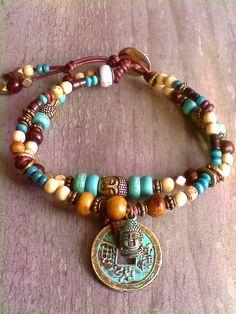 Boho Bronze Buddha head charm Turquoise, wood on leather bracelet $29.95CAD obo #Handmadebracelet #OOAKJewelry