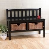 Found it at Wayfair - Fillmore Black Bench with Brown Rattan Baskets. This would be cute in the entry hall.
