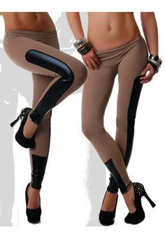 Leggings with Leather Look Patches in brown  http://www.basedstyle.com/?product=leggings-with-leather-look-patchwork