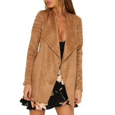 Gorgeous Tan Suede Open Jacket that will go nicely with dresses and skirt outfits this fall.