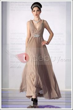 Stunning A-Line V-Neck Floor-length Prom/Evening Dresses