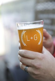 Impress with this customized wedding pint glasses - great favour for those with beer taps at your reception | New Wedding Favour Ideas That Will Definitely Impress Your Guests | Weddingbells