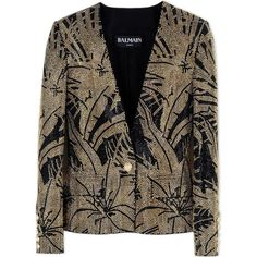 Balmain Blazer ($2,981) ❤ liked on Polyvore featuring outerwear, jackets, blazers, black, balmain, two tone jacket, balmain blazer, black jacket and long sleeve jacket