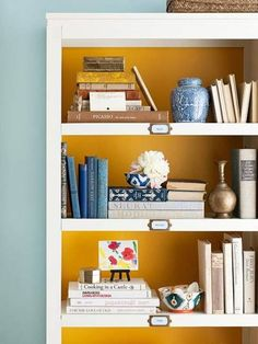 modern interior decorating with wall shelves and books