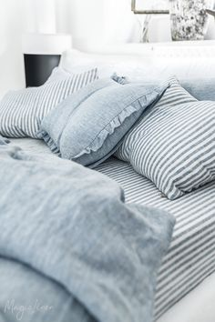 Blue Melange Linen Bedding What better way to enjoy those slow, sun-drenched moments than rolling in fresh and crisp bed linens? Discover our bed linens collection in Blue Melange >> Striped Bedding, Blue Bedding, Blue Bedroom, Cozy Bedroom, Dream Bedroom, Bedroom Decor, Linen Bedding Sets, Sheets Bedding, Blue Comforter Sets