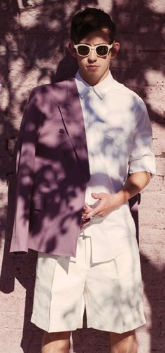 #KEVIN #MCHALE #BY #AARON #FEAVER #FASHIONISTO #7 #summer #shade #medium #pink #white #shorts #crisp #white #shirt