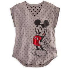 Mickey and Minnie Mouse Tee for Women ($25) ❤ liked on Polyvore featuring tops, t-shirts, shirts, tees, polish t shirts, v neck tops, shining t shirt, polka dot tee and dot t shirt