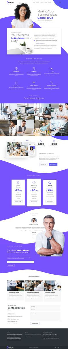 Explore comprehensive Delirum Corporate WordPress theme, which allows you create a modern website for corporate, business, finance and consulting services. The theme will help you provide the website with well-organized interface and powerful functionality thanks to its useful widgets and layouts. Professional and creative design of Delirum will liven up your website and fulfill the expectations of potential customers. Modern Website, Corporate Business, Wordpress Theme, Creative Design, Layouts, Finance, Thankful, Explore, Create