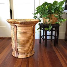 Tall Coiled Rattan Basket  Bamboo Side Table   Plant Stand