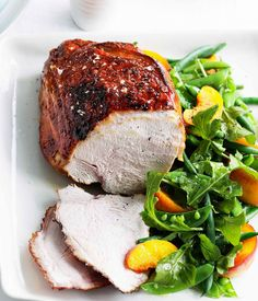 Vincotto-glazed turkey breast with peach and green bean salad - Gourmet Traveller / RECIPE http://www.gourmettraveller.com.au/recipes/recipe-search/feature-recipe/2009/11/vincotto-glazed-turkey-breast-with-peach-and-green-bean-salad/