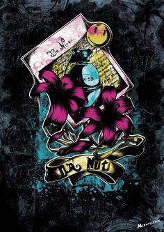"""""""Be Nice"""" Affiche originale, créée à partir d'une dessin Noir et Blanc retravaillé sur ordinateur. Entre art illustratif et peinture numérique, cette affiche aux allures de tatouage est disponible en format A3 où sur commande en format: 40*60 cm à 16€ et 80*120 cm à 40 euros."""
