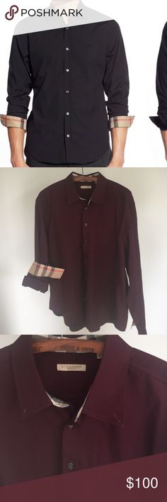 Mens Burberry button down Mint condition. Worn once for a few hours then dry cleaned. Just like new. No defects of any kind. Beautiful plum color. Tailored fit, flattering look Burberry Shirts Casual Button Down Shirts