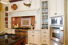Mountaineer WoodCraft, Inc. - Frum Project  #white #painted #stained #wood #kitchen #remodel #appliances #integrated #hood #mantle #glass #doors #country #sink #stone