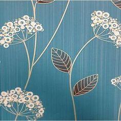 Teal Blue Floral Wallpaper - Graham & Brown